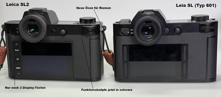Leica SL und Leica SL2 Rückseiten mit Display
