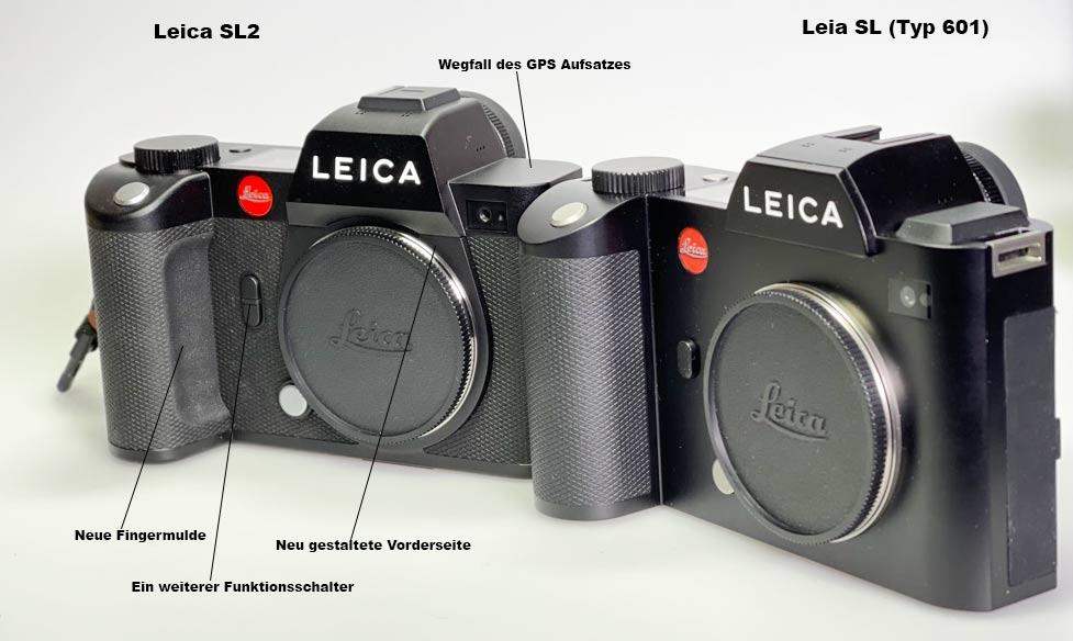 Leica SL und Leica SL2 Beschreibungen der Detail Funktionen an der Forderseite