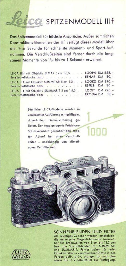 Werbeanzeige für das Leica Spitzenmodell IIIf