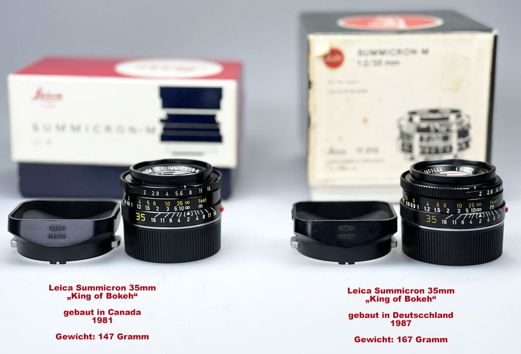 """zweimal Leica Summicron-M 35mm """"King of Bokeh"""" made in Canada und Germany"""