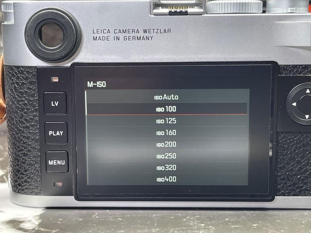 schwebende Displayanzeige für ISO Einstellung bei M10