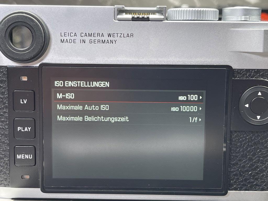 Display Anzeige für max. ISO
