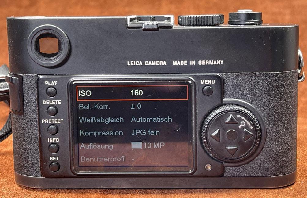 Leica M8, die ISO Anzeige nur im Menü abrufbar