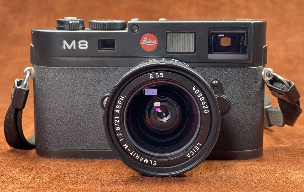 Meine Leica M8 von vorne mit dem Elmarit M 2,8 21mm