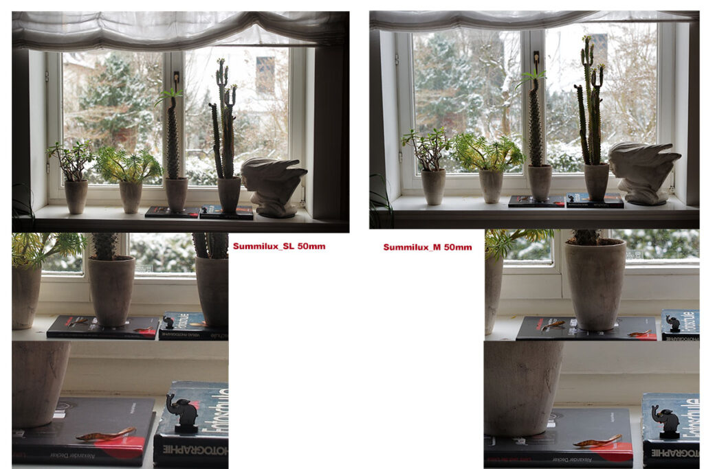 links die Aufnahmen mit dem SL Lux, normal, 100% und 200%, rechts die mit dem M-Lux