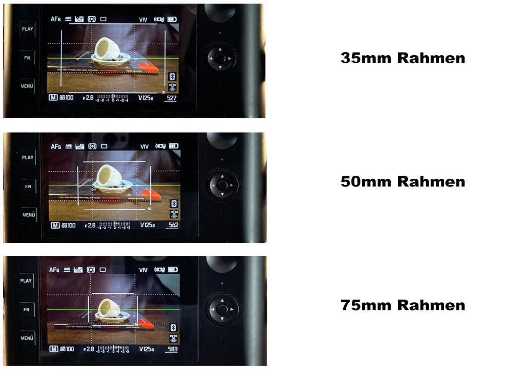 Bildrahmen im Sucher der Q2 mit 35mm, 50mm und 75mm